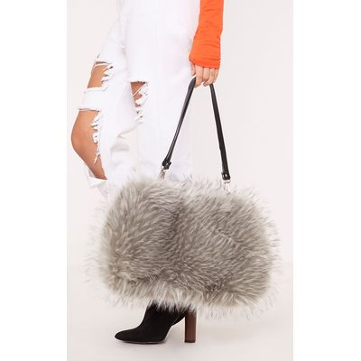 Jena Grey Fur Shoulder Bag, Grey
