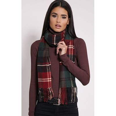 Serah Bottle Green Check Scarf, Green