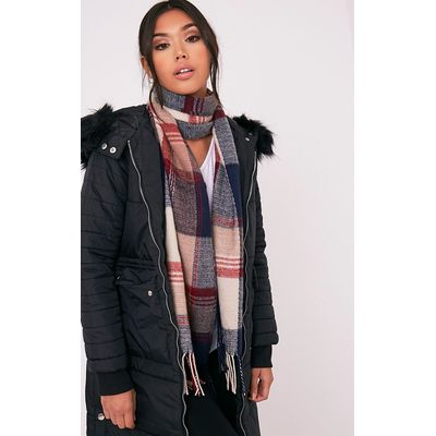 Bea Tan Check Scarf, Brown