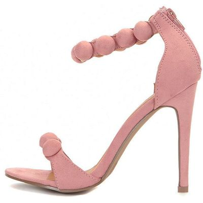 Una Pink Suede Studded Strappy Heeled Sandal, Pink