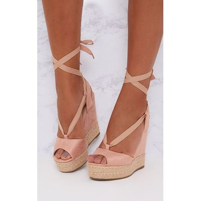 Blush Lace Up Faux Suede Wedges, Pink