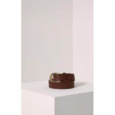 Helene Burgundy Wide Leather Belt, Red