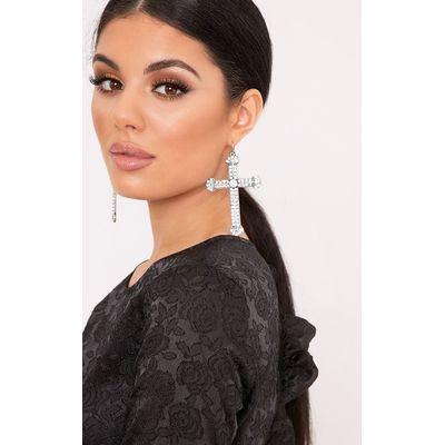 Crystal Silver Cross Detailed Earrings, Grey