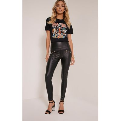 Jamima Black Zip Back Super Skinny Coated Trousers, Black