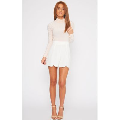 Grace Cream Crepe High Waist Pleat Front Short, White