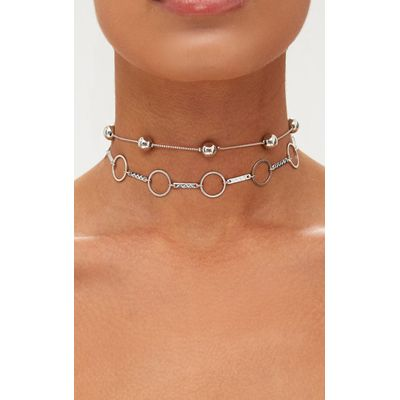 Silver Double Layer Ball and Hoop Choker, Grey