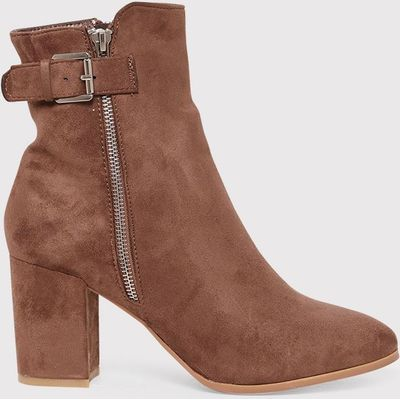 Karina Mocha Faux Suede Buckle Ankle Boots, Brown