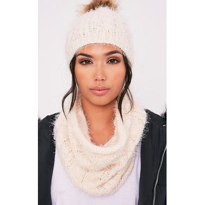 Two Pack Cream Bobble Hat & Snood, White