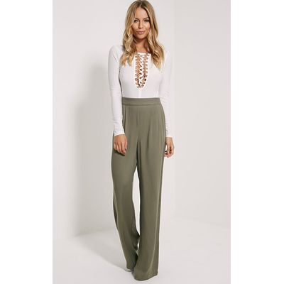 Posey Khaki Relax Fit Trousers, Green