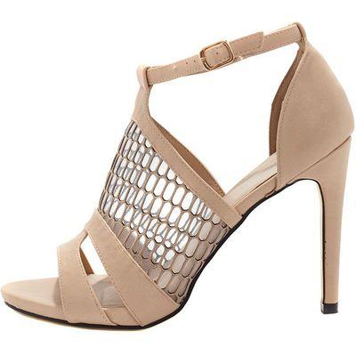 Izadora Nude Mesh Strappy Heeled Sandal, Pink