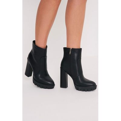 Ciel Black PU Cleated Sole Heeled Ankle Boots, Black