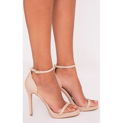 Enna Nude Single Strap Heeled Sandals, Pink