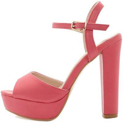 Flori Pink Leather Block Heeled Sandal, Pink