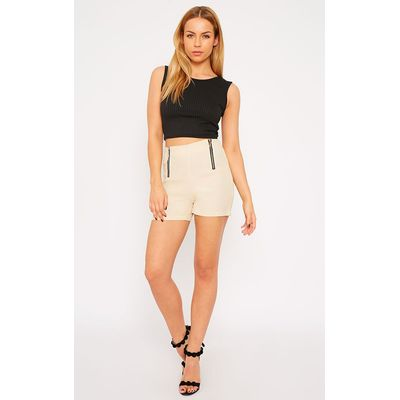 Mikkel Cream Zip Front Shorts, White