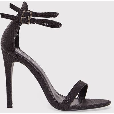 Karrie Black Snake Effect Double Ankle Strap Heels, Black