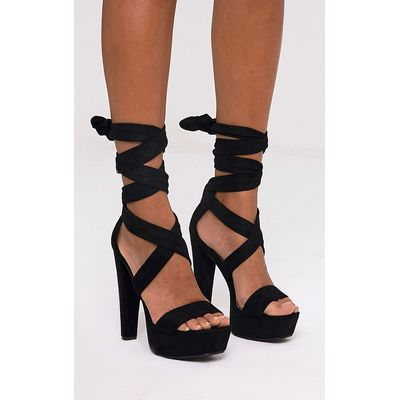Tria Black Faux Suede Wrap Platform Sandals, Black