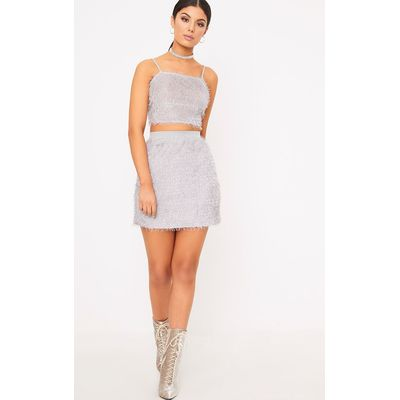 Diala Grey Eyelash  Mini Skirt, Grey