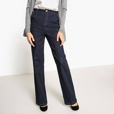 Loose-Fit,Cotton Mix, Wide-Leg Jeans