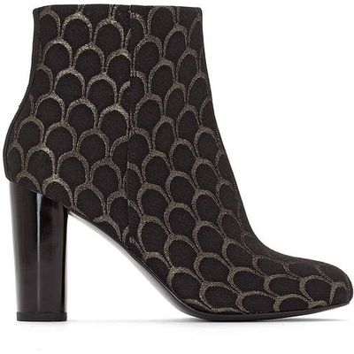 High-Heeled Jacquard Ankle Boots