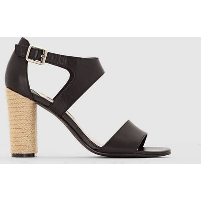 Leather Sandals with Rope Heel