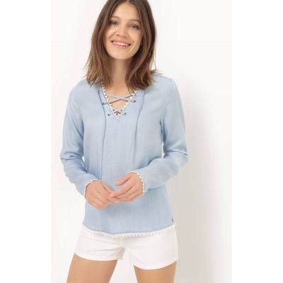 Blouse with Laced Neckline