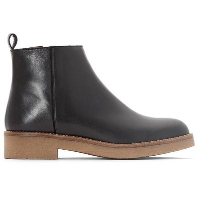 Leather Ankle Boots with Crêpe Sole
