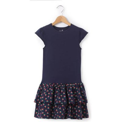 Short-Sleeved Frilled Dress, 3-12 Years