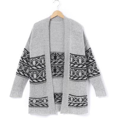 Mid-Length Jacquard Cardigan, 10-16 Years