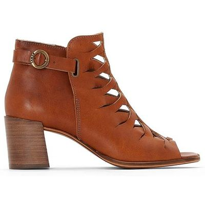 Geneva Leather Open Toe Ankle Boots