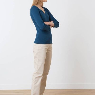 Woman's V-neck sweater in a cotton and silk blend, HAVELU