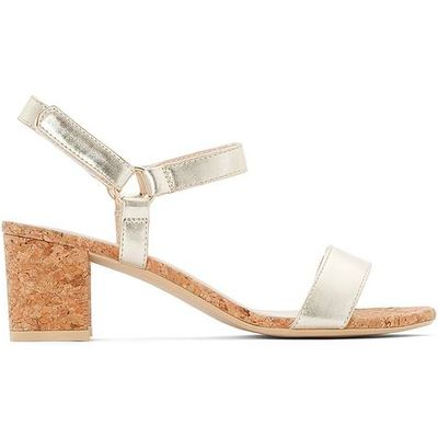 Gold-Coloured Sandals with Cork-Effect Heel