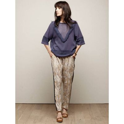 Fringed Blouse with 3/4-Length Sleeves