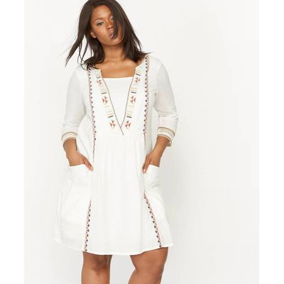 Embroidered Dress with 3/4 Length Sleeves