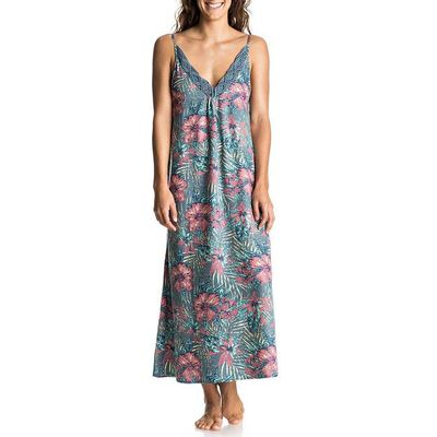 Floral Print Long Dress with Shoestring Straps