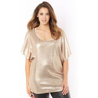T-Shirt with Matt Sequins