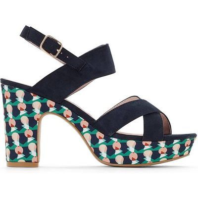 Sandals with Printed Heel
