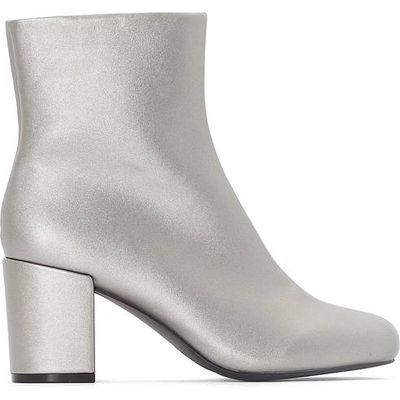 Square Toed Silver-Coloured Ankle Boots