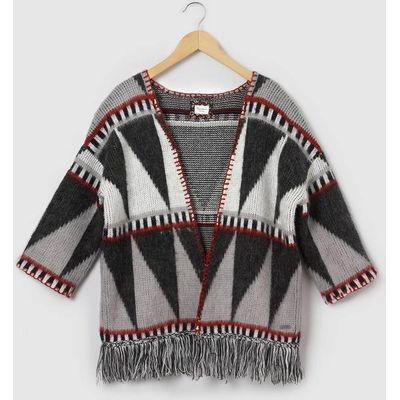 Fringed Poncho Cardigan, 8-16 Years