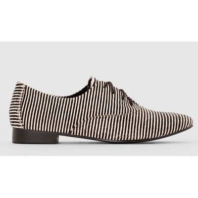 Long-Pile Leather Brogues with Striped Detail