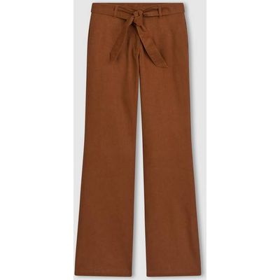 Wide Leg Linen/Cotton Trousers with Belt