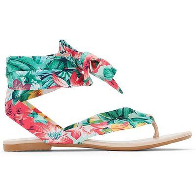 Floral Print Tie Sandals