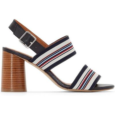 Leather Striped Sandals with Flared Heels