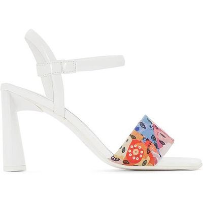 Sandals with Printed Textile Strap