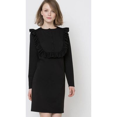 Knitted Dress with Frilled Front Panel