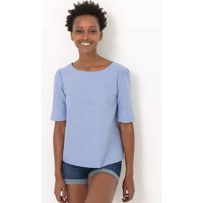 Loose Fit Boat Neck Blouse