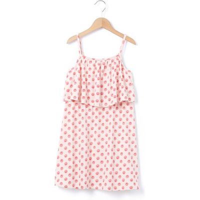 Printed Dress with Shoestring Straps, 3-12 Years