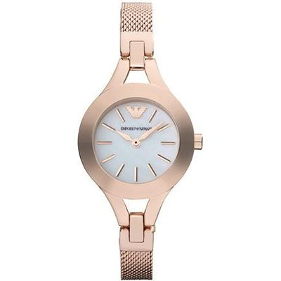 Emporio Armani Ladies Rose Gold Plated Mesh and Mother of Pearl Watch