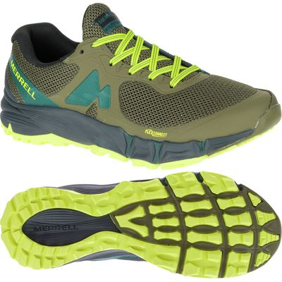 Merrell Agility Charge Flex Mens Running Shoes - Green/Yellow, 8 UK