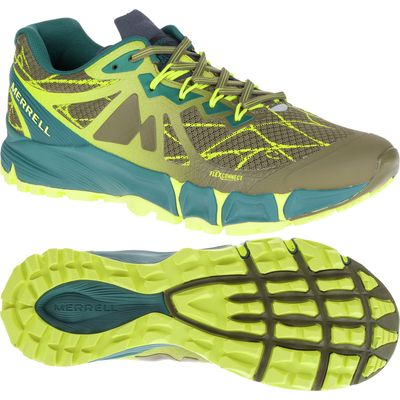 Merrell Agility Peak Flex Mens Running Shoes - Blue/Yellow, 8 UK
