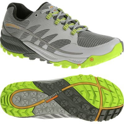 Merrell All Out Charge Mens Running Shoes - Grey/Green, 11 UK